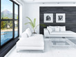 Modern living room interior with white couch against black wall