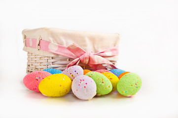 Easter eggs and a basket