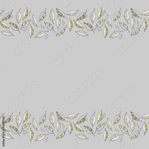 zielone liście botaniczny podwójny border z miejscem na tekst