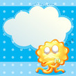 A sleeping orange monster in front of the empty cloud template