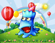 A hilltop with a happy blue monster holding a yellow balloon