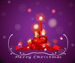 A purple christmas card with red lighted candles