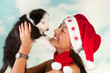 Puppy and santa girl