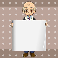 A bald oldman holding an empty signage