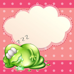 A monster sleeping and salivating with an empty cloud template a