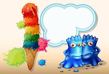 A giant icecream beside the two blue monsters