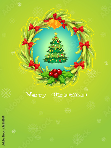 A green christmas card template