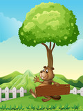 A hilltop with a beaver holding a wooden signboard
