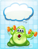A green monster exercising with an empty cloud template