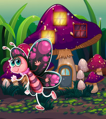 A colorful butterfly near the lighted mushroom house