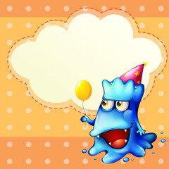 A monster holding a balloon standing in front of the empty cloud