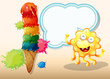 A giant icecream beside the happy yellow monster