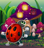 A bug in front of the lighted mushroom house