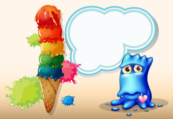 A giant icecream beside the blue monster with an empty callout