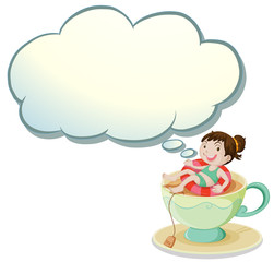 A happy girl swimming above the cup with an empty cloud template