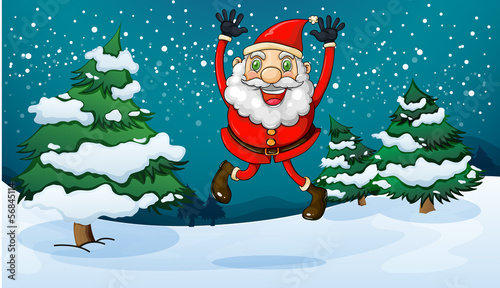 A happy Santa near the pine trees