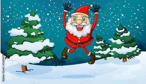 A happy Santa near the pine trees