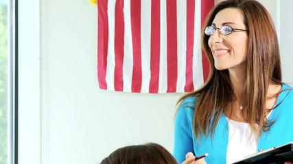 Caucasian Female College Lecturer Close Up