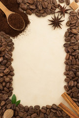 coffee beans and parchment