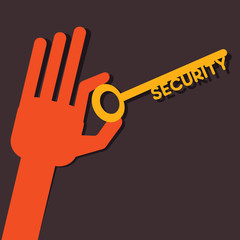 Security key in hand stock vector