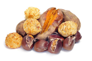 panellets and roasted chestnuts and sweet potatoes, typical snac