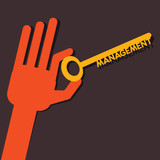 Management key in hand stock vector