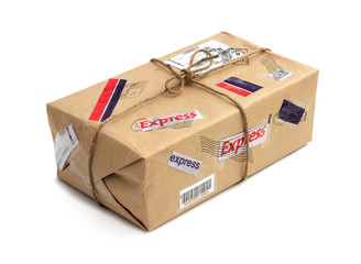 Brown postal package