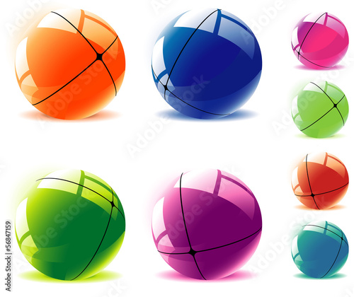 Divided spheres. Vector.