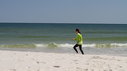 Woman Running Beach