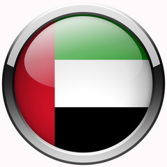 united arab emirates flag gel realistic metal button on white