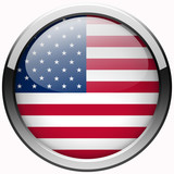 usa  flag gel realistic metal button on white