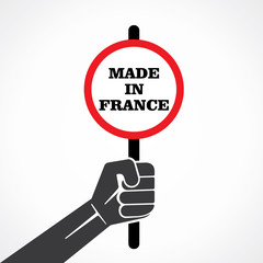 made in france word banner hold in hand stock vector