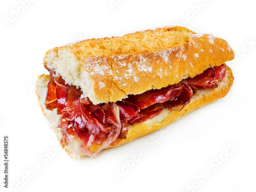 Typical spanish serrano ham sandwich