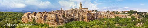 Panorama view of the town Pitigliano, Italy