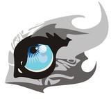 Ornate wolf eye in the form of fish