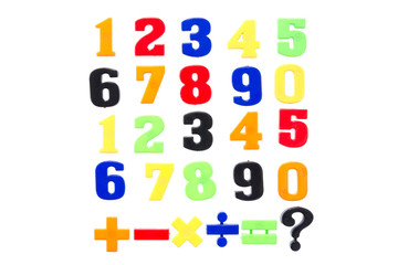 Plastic numbers isolated on white