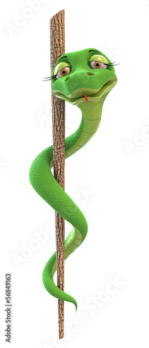 funny medical symbol (caduceus snake with stick)