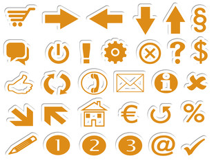 Online Shop Button Symbole orange