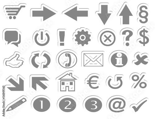 Online Shop Button Symbole grau