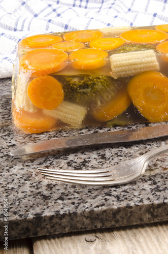 vegetable in aspic and cutlery