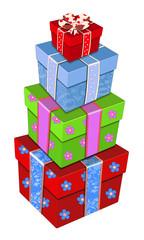 Гора подарков в разноцветных коробках .Векторная иллюстрация