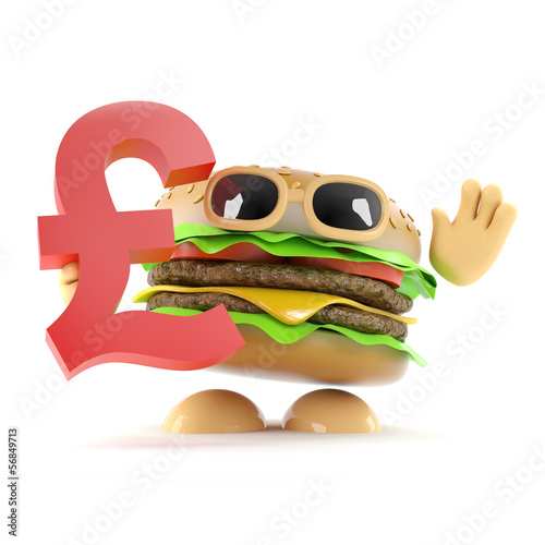 Burger holds the UK Sterling symbol