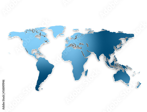World map 3d embros dark blue metallic texture