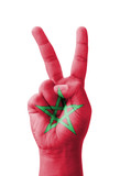 Hand making the V sign, Morocco flag painted