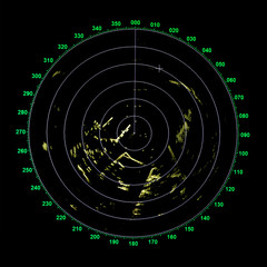 Green modern ship radar screen with round map