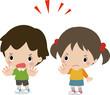 拒否の意思を表す男の子と女の子