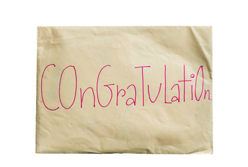 envelope paper with the word congratulation