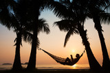 sunset in hammock on the beach - Fine Art prints