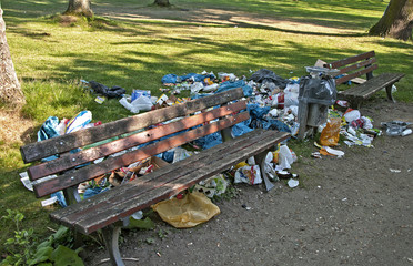 Garbage at park bench