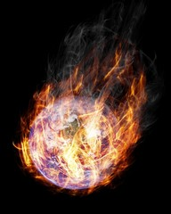 Earth in flames - elements of this image furnished by NASA